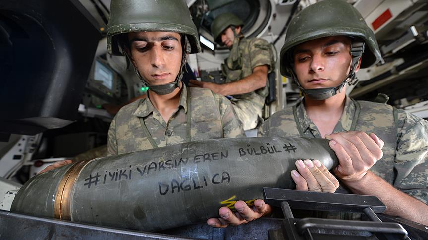 Mehmetçik'ten 'Eren Bülbül' yazılı mermi